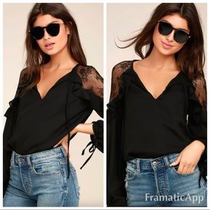 Lulus glorious day black blouse lace sleeves